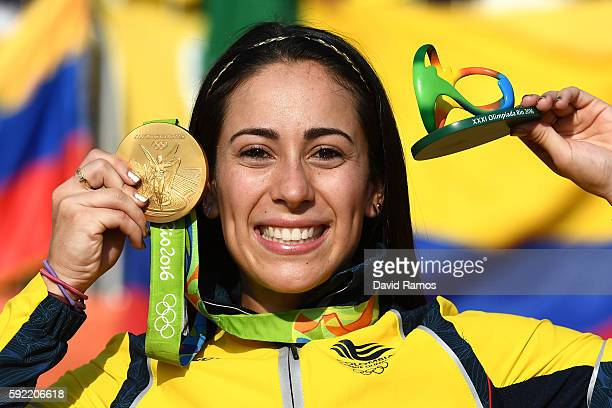 Mariana Pajon of Colombia celebrates with the gold after winning the Women's BMX Final on day 14 of the Rio 2016 Olympic Games at the Olympic BMX...