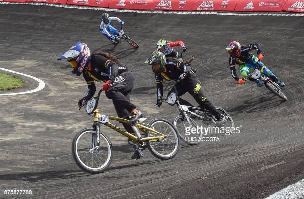 Mariana Pajon of Colombia competes in the women's BMX final during the XVIII Bolivarian Games 2017 in Santa Marta Colombia on November 18 2017 Pajon...