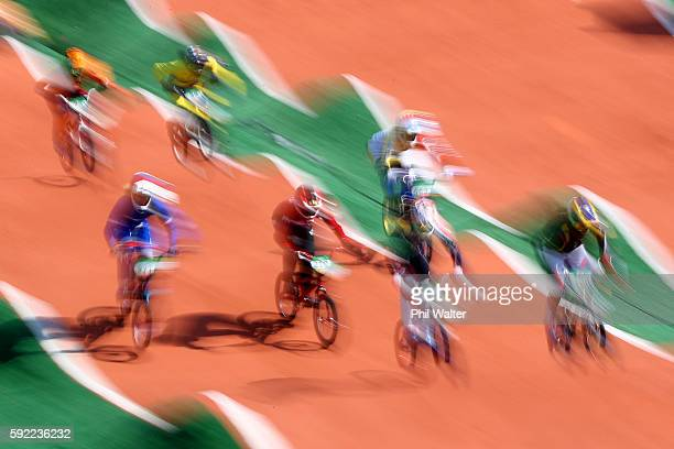 Mariana Pajon of Colombia leads the pack during the Women's BMX Semi Finals on day 14 of the Rio 2016 Olympic Games at the Olympic BMX Centre on...