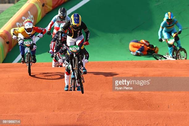 Mariana Pajon of Colombia powers to the finish line to win the gold during the Women's Final on day 14 of the Rio 2016 Olympic Games at the Olympic...