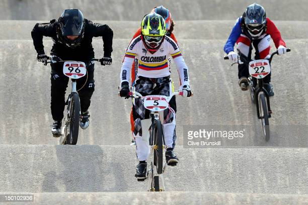 Mariana Pajon of Colombia race to win the Gold medal in the Women's BMX Cycling Final on Day 14 of the London 2012 Olympic Games at the BMX Track on...