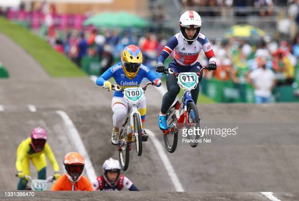 Mariana Pajon of Team Colombia and Bethany Shriever of Team Great Britain as they jump during the Women's BMX final on day seven of the Tokyo 2020...