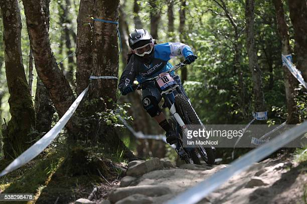 Mariana Salazar Palomo of Spain competes in the women's Downanhill at the UCI Mountain Bike World Cup on June 5 2016 in Fort William Scotland