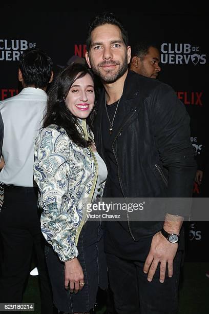 Mariana Trevino and Arap Bethke attend the Netflix Club De Cuervos Season 2 launch party at Cinemex Patriotismo on December 10 2016 in Mexico City...