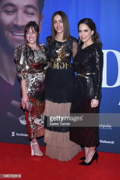 Mariana Treviño, Cecilia Suarez and Ana Claudia Talancon poses for photos during a red carpet as part of the film 'Perfectos Desconocidos' premiere...