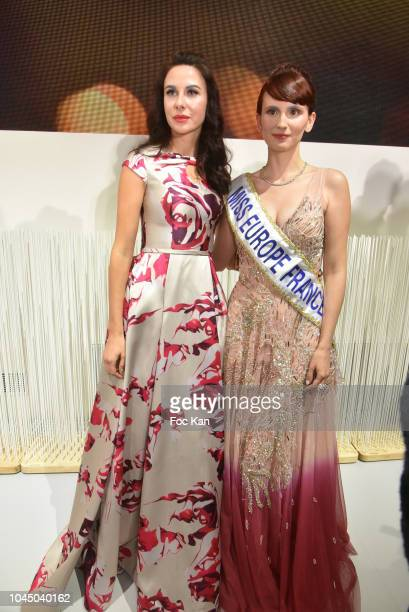 Mariana Voinova and a miss Europe France attend the Christophe Guillarme show as part of the Paris Fashion Week Womenswear Spring/Summer 2019 on...
