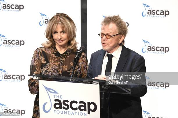 Mariana Williams and ASCAP President Paul Williams speak on stage during the ASCAP Foundation Awards 2017 at Jazz at Lincoln Center on December 14...