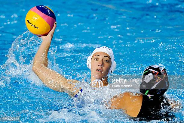 Mariana Zablith of Brazil is challenged against Guadalupe Perez of Mexico in the Women's Water Polo during the Pan American Games Guadalajara 2011 at...