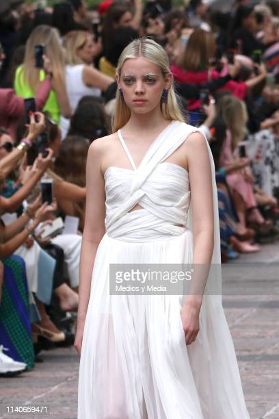 Mariana Zaragoza walks the runway during the Kris Goyri show as part of the MercedesBenz Fashion Week Mexico Fall/Winter 2019 Day 5 at Bosque de...