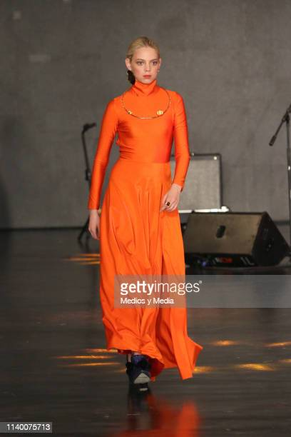 Mariana Zaragoza walks the runway during the Larissa Torres of 'Colectivo Diseño Mexicano' show as part of the MercedesBenz Fashion Week Mexico...