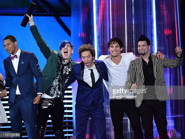 Marianas Trench accepts award during the 2013 MuchMusic Video Awardsat MuchMusic HQ on June 16 2013 in Toronto Canada