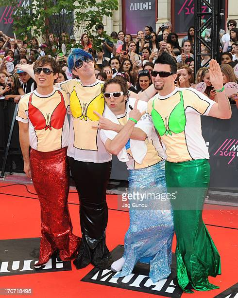 Marianas Trench arrive on the red carpet at the 2013 MuchMusic Video Awards at Bell Media Headquarters on June 16 2013 in Toronto Canada
