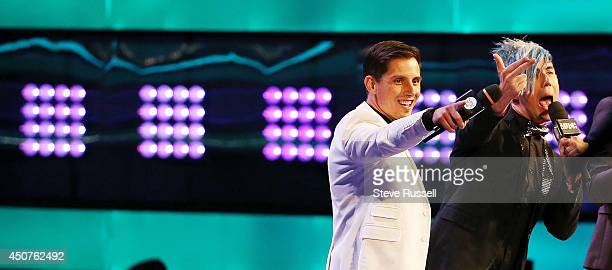 TORONTO ON JUNE 15 Marianas Trench talk to the crowd at the Much Music Video Awards at MuchMusic on Queen Street West in Toronto June 15 2014