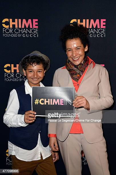 Mariane Pearl and her son Adam Daniel Pearl attend 'Chime for Change Launches App and Unveils New Strategic Partnership' at Le Royal Monceau on March...