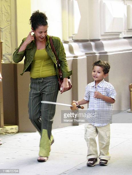 Mariane Pearl and son Adam during Mariane Pearl Sighting in New York - June 19, 2007 at Times Square in New York City, New York, United States.