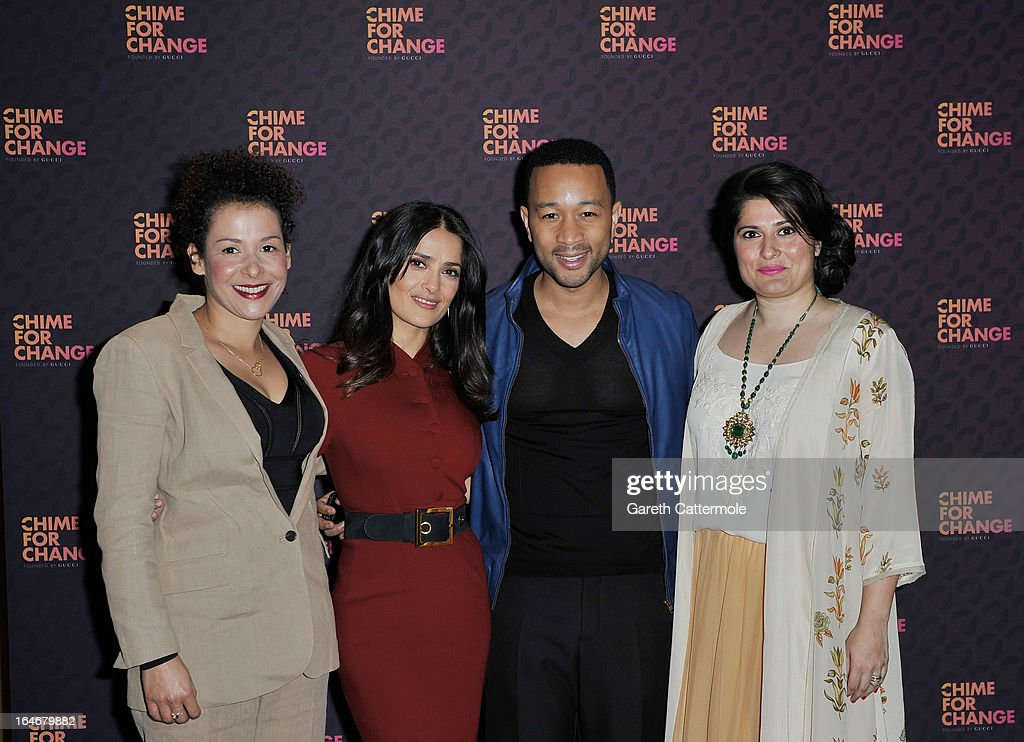Mariane Pearl, Salma Hayek Pinault, John Legend and Sharmeen Obaid-Chinoy attend a press conference to announce 'The Sound Of Change Live', a global concert event, at the Soho Hotel on March 26, 2013 in London, United Kingdom. Chime For Change, a global campaign for girls' and women's empowerment founded by Gucci and with a founding committee comprised of Gucci Creative Director Frida Giannini, Salma Hayek Pinault and Beyonce Knowles-Carter, today announced a concert event at London's Twickenham Stadium on June 1 with Co-founder and Artistic Director, Beyonce as headliner. Also set to perform are Ellie Goulding, Florence and the Machine, HAIM, Iggy Azalea, John Legend, Laura Pausini, Rita Ora, Timbaland and more to be announced.