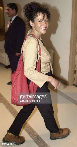Mariane Pearl wife of missing Wall Street Journal correspondent Daniel Pearl, walks in a hotel in Karachi, 06 February 2002. Daniel Pearl was...