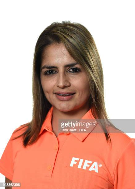 Marianela Araya Cruz of Costa Rica poses for photographs during the FIFA Women's Referee Seminar on February 14 2018 in Doha Qatar