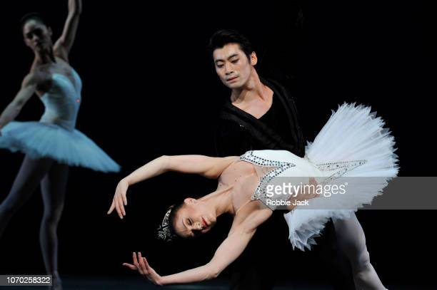 Marianela Nunez and Ryoichi Hirano with artists of the company in The Royal Ballets production of George Balanchine's Symphony in C at The Royal...
