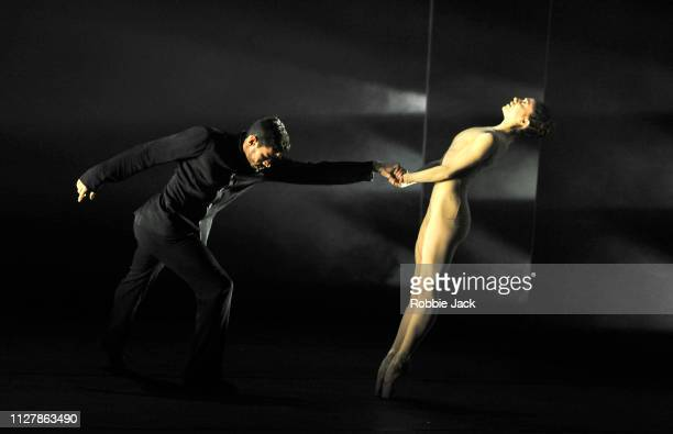 Marianela Nunez and Thiago Soares in The Royal Ballet's production of Goyo Montero's Circular Ruins at The Royal Opera House on February 6 2019 in...