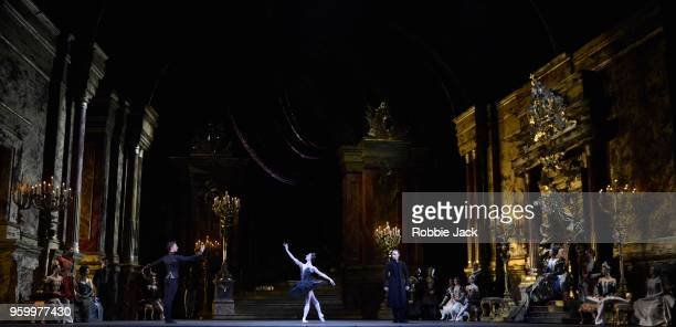 Marianela Nunez as Odette/Odile Vadim Muntagirov as Prince Siegfried and Bennet Gartside as von Rothbart with artists of the company in Liam...
