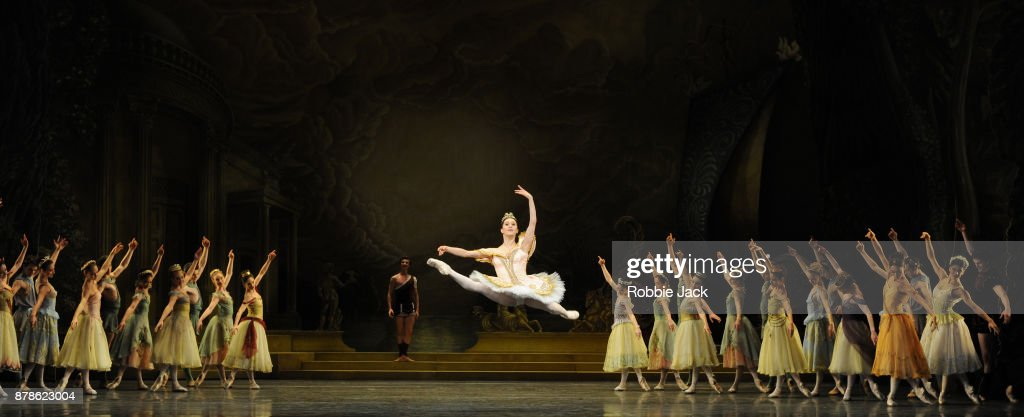 Marianela Nunez as Sylvia and Vadim Muntagirov as Aminta with artists of the company in the Royal Ballet's production of Frederick Ashton's Sylvia at the Royal Opera House on November 21, 2017 in London, England.