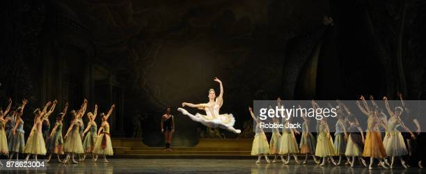 Marianela Nunez as Sylvia and Vadim Muntagirov as Aminta with artists of the company in the Royal Ballet's production of Frederick Ashton's Sylvia at...