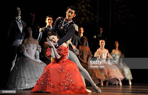 Marianela Nunez as Tatiana and Ryoichi Hirano as Prince Gremin with artists of the company in the Royal Ballet's production of John Cranko's Onegin...