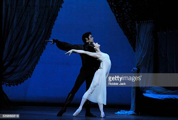 Marianela Nunez as Tatiana and Thiago Soares as Onegin in the Royal Ballet's production of John Cranko's Onegin at the Royal Opera House Covent...