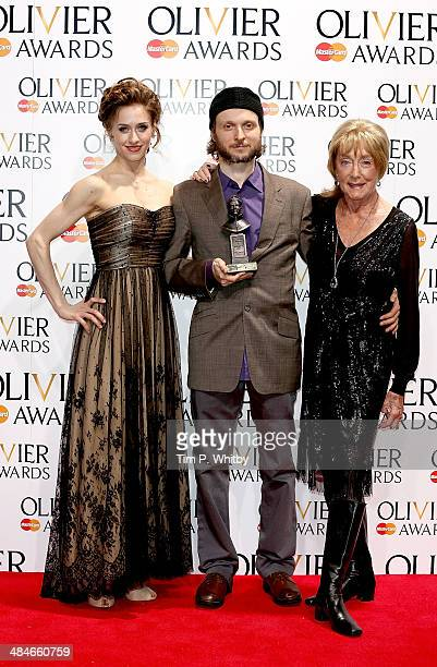 Marianela Nunez Sidi Larbi Cherkaoui winner of the Best New Dance Production for 'Eastman' and Dame Gillian Lynne pose in the press room at the...