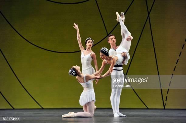 Marianela Nunez Yasmine Naghdi Yuhui Choe and Vadim Muntagirov in the Royal Ballet's production of Frederick Ashton's Symphonic Variations at the...
