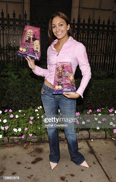 VJ Marianela of the FUSE Network with Bratz Dolls during Bratz Dolls Team Up with FUSE Network VJ Marianela to Present Gifts to Patients at the...