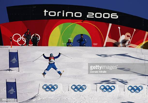 Mariangela Fabia Parravicini of Italy competes in the Womens Freestyle Moguls Qualifying on Day 1 of the 2006 Turin Winter Olympic Games on February...