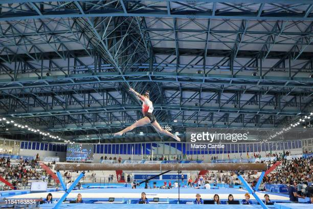 Mariangeles Murillo of Costa Rica during the competition of the final stages of artistic gymnastics for the specialty of balance beam at the...