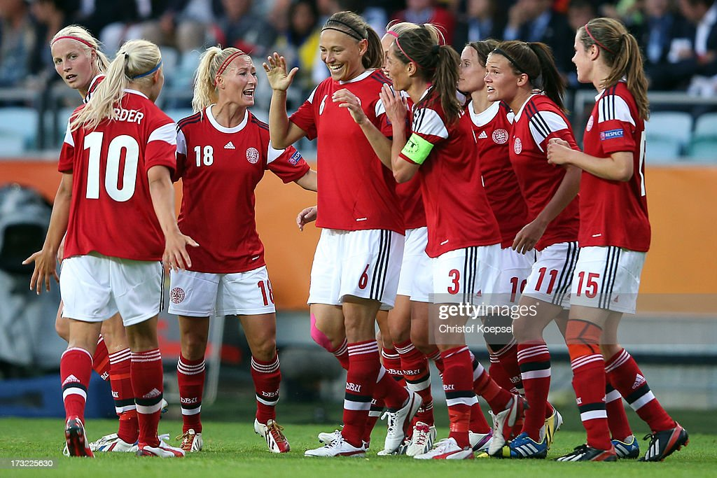 Mariann Knudsen of Denmark (4th L) celebrates the first goal with her team mates during the UEFA Women's EURO 2013 Group A match between Sweden and Denmark at Gamla Ullevi Stadium on July 10, 2013 in Gothenburg, Sweden.