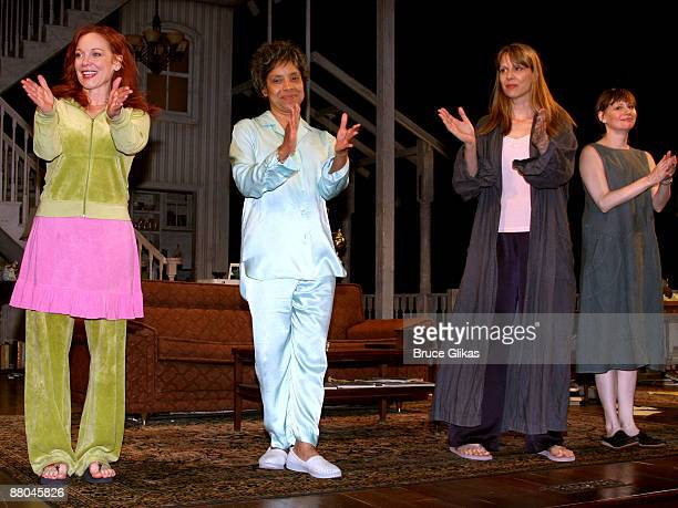 Mariann Mayberry Phylicia Rashad Amy Morton and Sally Murphy applaud during the curtain call in 'August Osage County' at the Music Box Theatre on May...