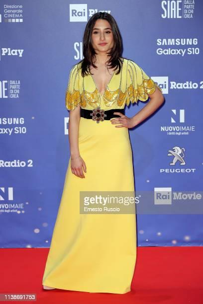 Marianna Fontana walks a red carpet ahead of the 64th David Di Donatello film awards ceremony on March 27 2019 in Rome Italy