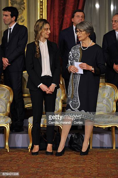 Marianna Madia and Anna Finocchiaro Democratic leader in the Senate attend a swearing in ceremony for new Prime Minister Paolo Gentiloni at Quirinale...