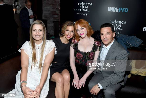 Marianna Palka Alysia Reiner Christina Hendricks and David Alan Basche attend the 2018 Tribeca Film Festival after party for 'Egg' hosted by the...