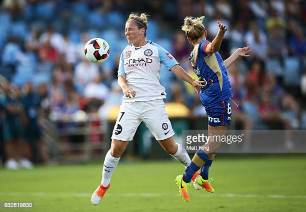 Marianna Tabain of Melbourne City is challenged by Cassidy Davis of the Jets during the round 14 W-League match between the Newcastle Jets and...