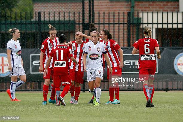 Marianna Tabain of Melbourne City is congratulated after scoring a goal during the round 10 WLeague match between Melbourne City FC and Perth Glory...