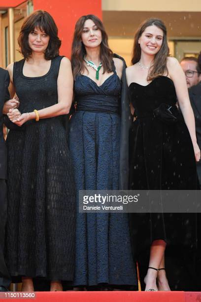 Marianne Denicourt Monica Bellucci and Tess Lauvergne attend the screening of Les Plus Belles Annees D'Une Vie during the 72nd annual Cannes Film...