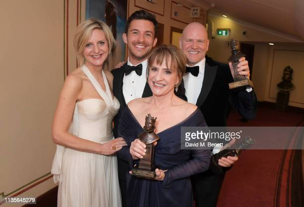 Marianne Elliott Jonathan Bailey Patti LuPone and Chris Harper award winners for Company attend The Olivier Awards 2019 with Mastercard at The Royal...