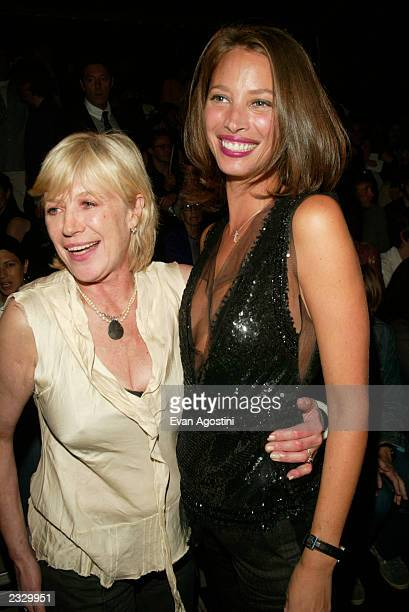 Marianne Faithful with Christy Turlington at the Marc Jacobs Spring 2003 fashion show during the MercedesBenz Fashion Week at Bryant Park in New York...