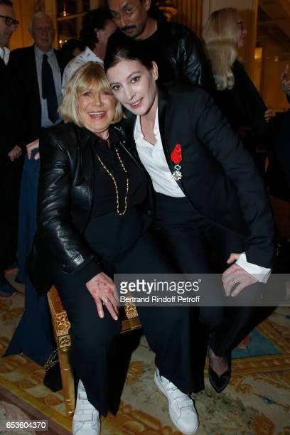 "Marianne Faithfull and Marie-Agnes Gillot attend Marie-Agnes Gillot is decorated ""Chevalier de lordre national de la Legion d'Honneur"" at Ministere..."