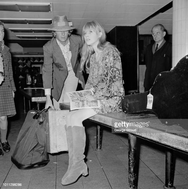 Marianne Faithfull arrives at London Airport after a flight from Dublin with Mick Jagger 14th August 1967