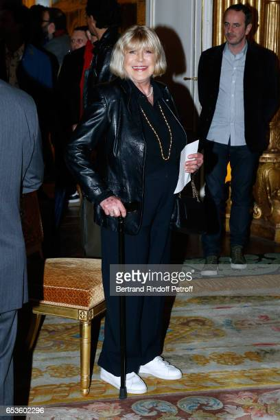 Marianne Faithfull attends MarieAgnes Gillot is decorated Chevalier de lordre national de la Legion d'Honneur at Ministere de la Culture In Paris on...