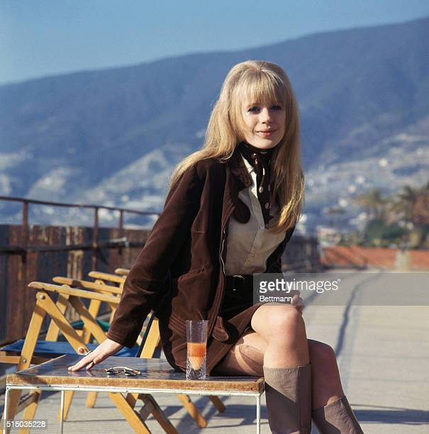 1/28/1967 Marianne Faithfull British singer on board ship for wedding of singer Gene Pitney
