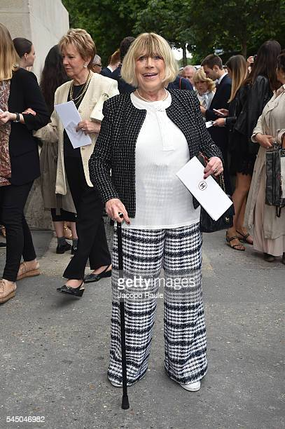 Marianne Faithfull is seen arriving at Chanel Fashion show during Paris Fashion Week Haute Couture F/W 20162017 on July 5 2016 in Paris France