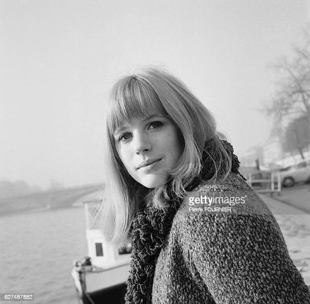 Marianne Faithfull on the banks of the Seine river in Paris